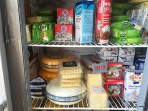 Cream, cheese, and other great products in the cooler.