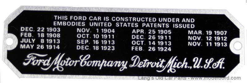 Patent plate from a Model T Ford, from ModelTFord.com.
