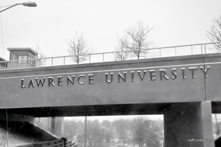 View of a bridge across a street at Lawrence University, Jan. 2011.