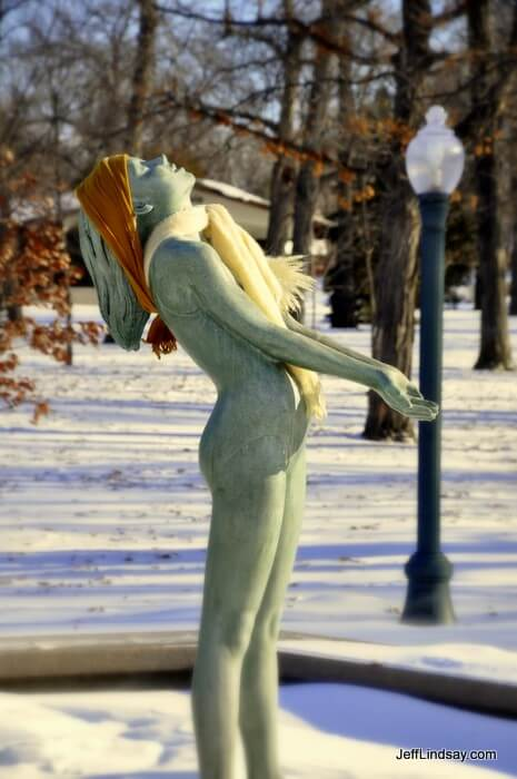A Dallas Anderson sculpture at Riverside Park in Neenah from Dec. 2009, with a little added warmth from the kind neighbors of Neenah.