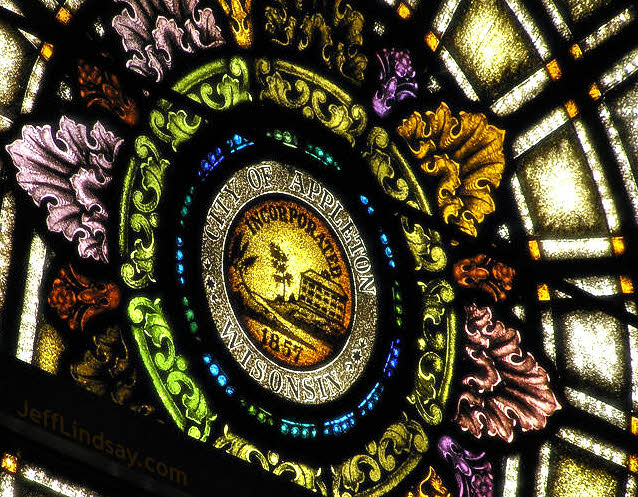 A stained glass window in Lawrene Chapel celebrating the founding of the city of Appleton.