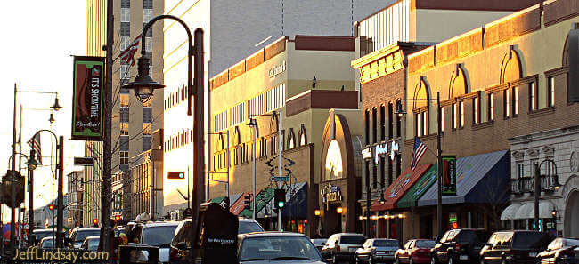 Downtown Appleton at dusk. Photo by Jeff Lindsay, 2006.