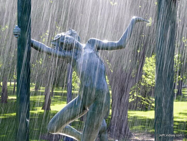 Scene from Dallas Anderson's Playing in the Rain sculpture, Neenah, 2009.