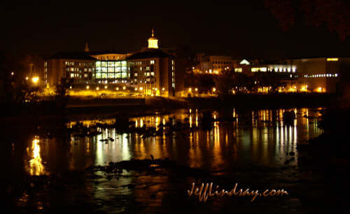 Lawrence University at night, reflected in the Fox River by Oneida Flats. Jeff Lindsay, October 11, 2004.