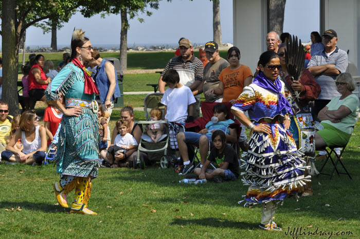 Two women dancers from the Oneida Tribe of Indians, performing at Bay Beach Park in Green Bay, Sept. 7, 2009, for a local labor union. The Oneida Indian Tribe of Wisconsin is an important part of the cultural landscape in this part of Wisconsin.