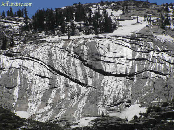 Water from melting snow running down a granite cliff at Yosemite National Park, June 29, 2005
