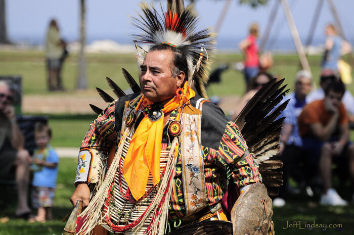 A man from the Oneida Indian Tribe of Wisconsin during a dance performance at Bay Beach Park, Freen Bay, fall 2009.