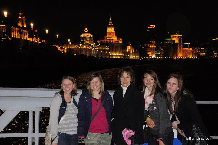 My wife and some friends of ours on the Shanghai ferry that crosses the Huang Pu River for a fare of just 2 RMB.