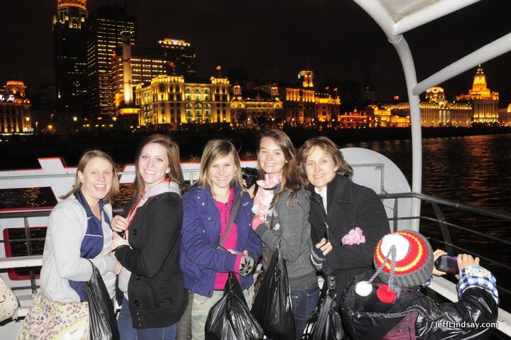 Ferry ride on the Huang Pu River at night