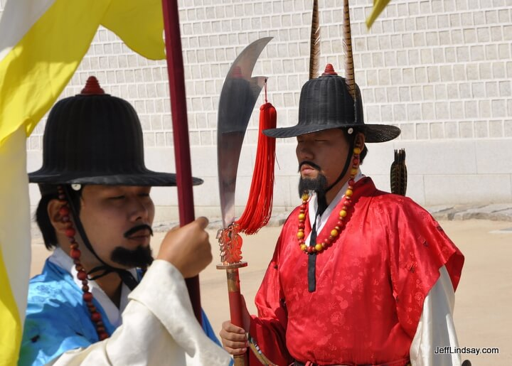 Guards at the Gyeongbokgung Palace complex in Seoul.