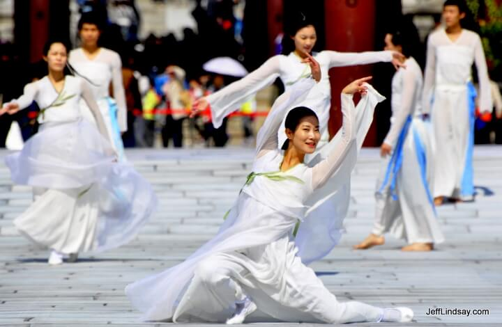 Dancers at the Gyeongbokgung Palace complex in Seoul.