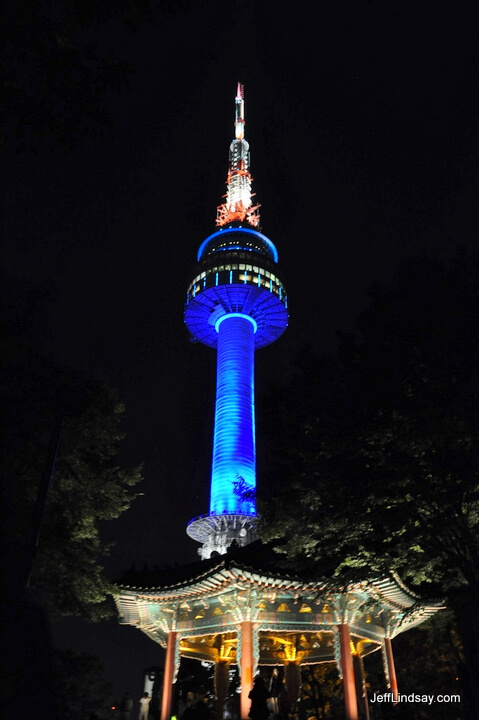 Seoul's famous Namsan broadcast tower, night view.