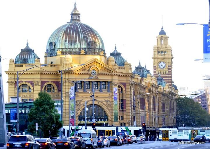 The Flinders Street Train Station, a historic and beautiful building in the heart of Melbourne.
