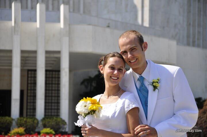 The couple in front of the LDS (Mormon) Washington, D.C. Temple