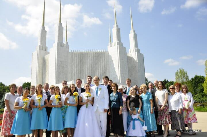 The couple and family in front of the LDS (Mormon) Washington, D.C. Temple