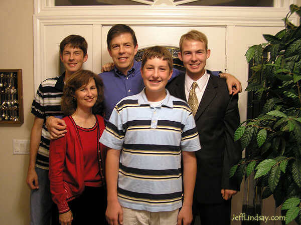 Our family at Steven Christiansen's home the night before Daniel left for a two-year mission in Nevada.