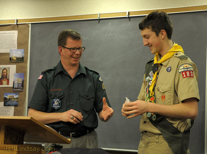 Mark receives another merit badge at a court of honor for Troop 180, LDS Church in Neenah.