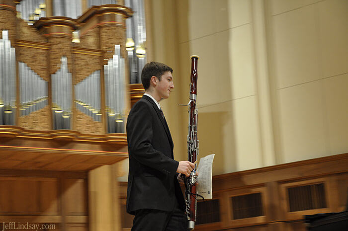 Mark Lindsay and his bassoon during a recital  Lawrence Chapel, Feb. 14, 2010.