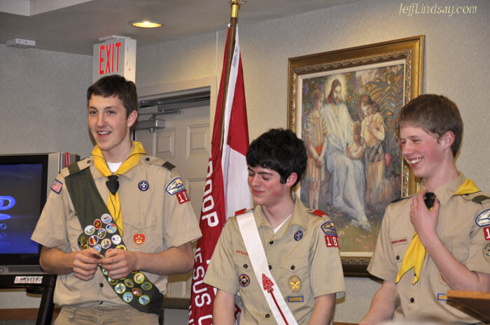 Mark and other young men at a Boy Souts court of honor on Jan. 13, 2010, where Mark received the final merit badges required as part of his Eagle Scout award.
