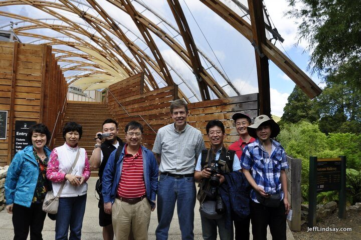 Jeff and some new acquaintances from China at the Waitomo Glow Worms Caves on the North Island, Feb. 2013.