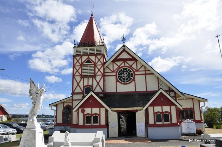A church at the tiny but free Maori village in Rotorua on the shore of the lake.
