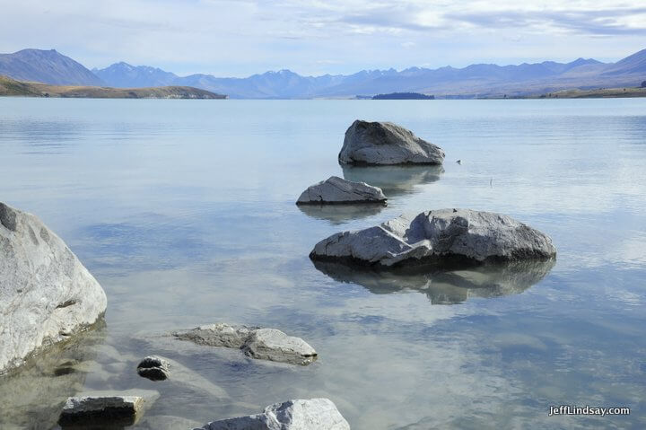 New Zealand: rocks in a lake, south island