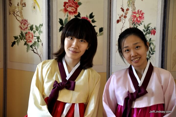 Two Korean girls at a palace in Korea.