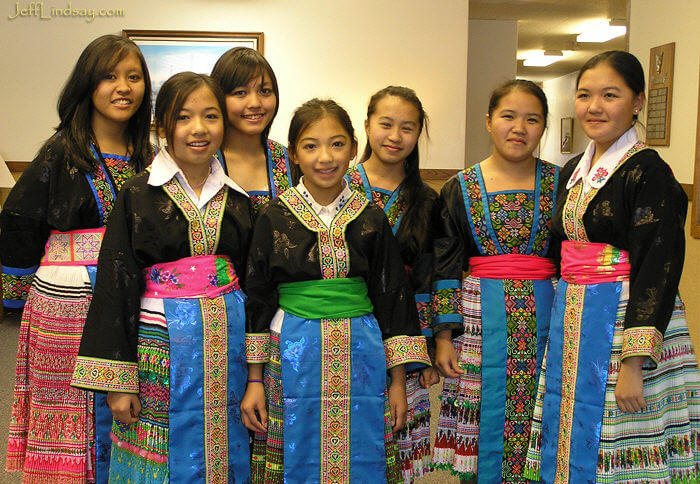 Some sweet Hmong girls at The Church of Jesus Christ of Latter-day Saints (Mormons) in Appleton after performing at a talent show. Dec. 2006.