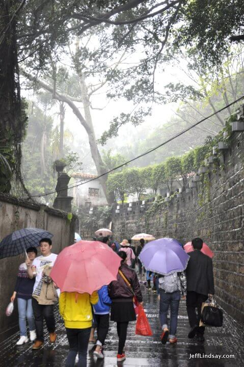 Xiamen, Fujian China, April 2013: umbrella alley