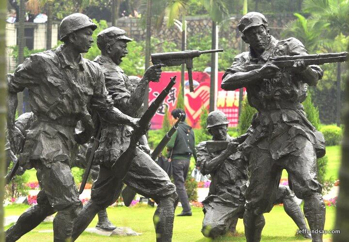 Xiamen, Fujian China, April 2013: statues, fallen soldiers, China